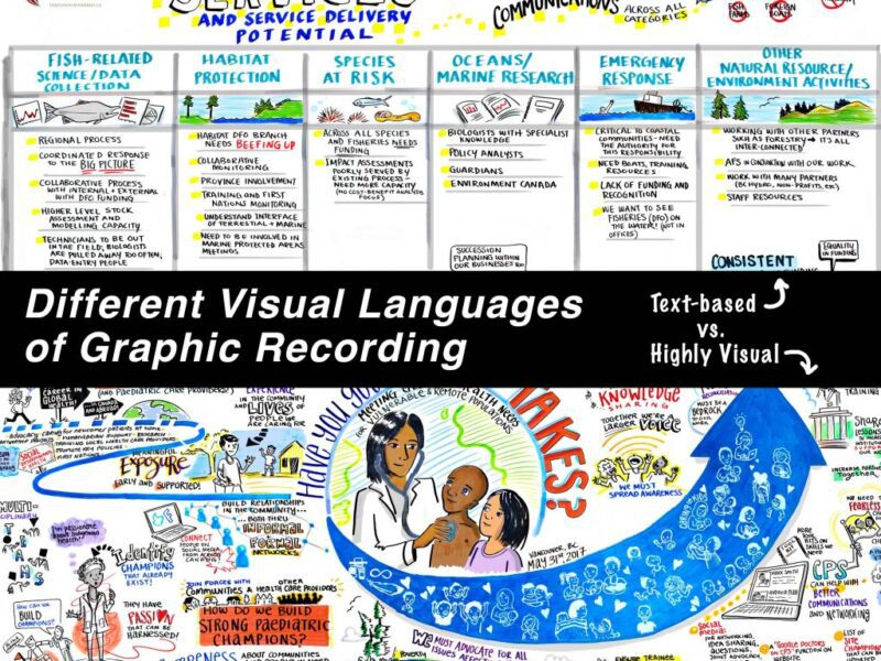Styles of Graphic Recording, text graphic recording, highly visual graphic recording, graphic recording vancouver bc, graphic recorder victoria bc, graphic recording vancouver, graphic facilitation vancouver, live scribing, live illustration, sketchnotes, graphic recording company, the fuselight creative