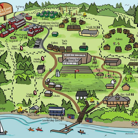 hand drawn map, summer camp illustration, walking map, ymca camp elphinstone, visual map, the fuselight creative
