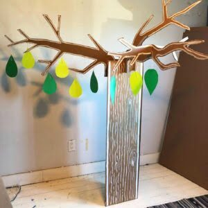 Cardboard tree, language tree, interactive conference, engagement at conference, Indigenous Language Tree